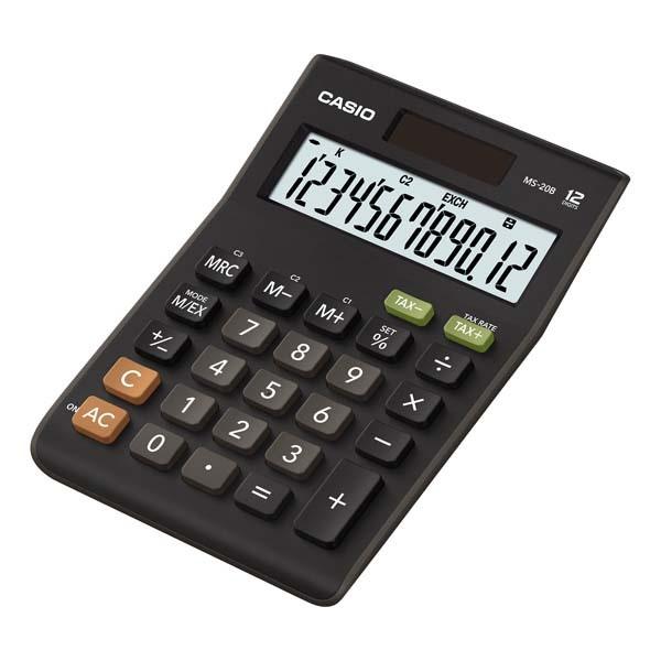 CASIO kalkulačka MS 20 B, černá, stolní, dvanáctimístná