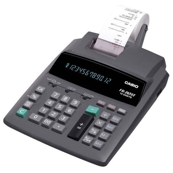 CASIO kalkulačka FR 2650 T, šedá, přenosná stolní kalkulačka s tiskem,dvanáctimístná