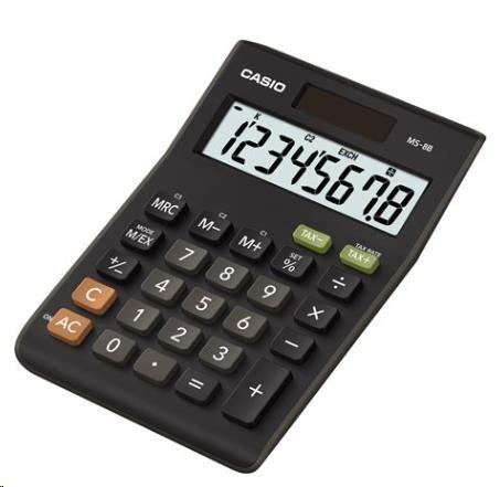 CASIO kalkulačka MS 8 B, černá, stolní, osmimístná