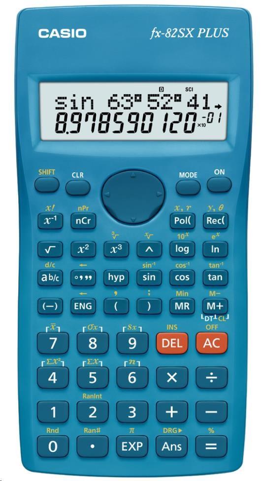 CASIO kalkulačka FX 82SX PLUS, modrá, školní, dvouřádková