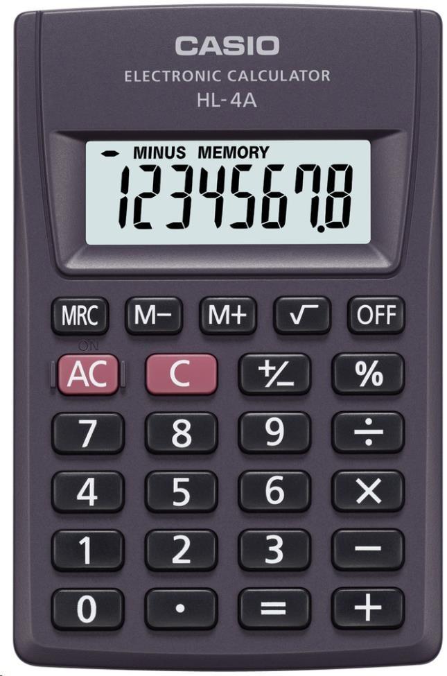CASIO kalkulačka HL 4 A, černá, kapesní, osmimístná