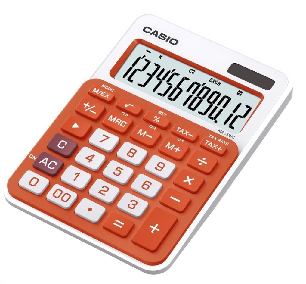 CASIO kalkulačka MS 20NC OR, oranžová, stolní, dvanáctimístná