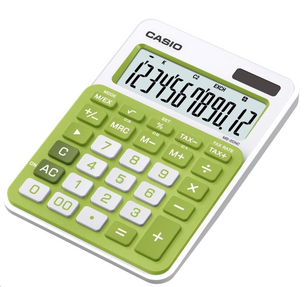CASIO kalkulačka MS 20NC GN, zelená, stolní, dvanáctimístná