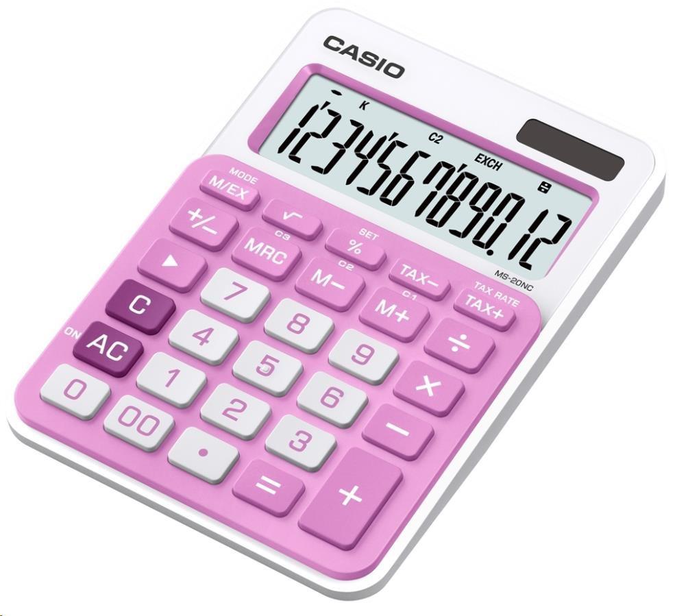 CASIO kalkulačka MS 20NC PK, růžová, stolní, dvanáctimístná