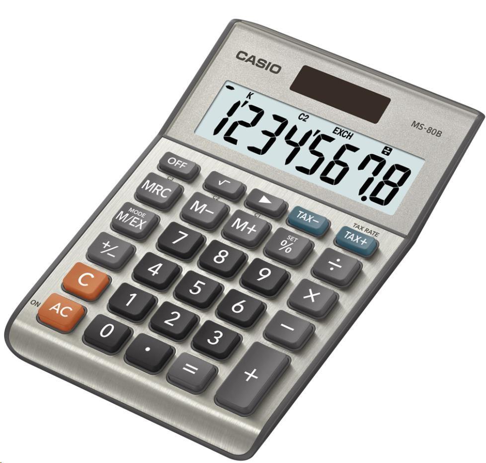 CASIO kalkulačka MS 80 B, stříbrná, stolní, osmimístná