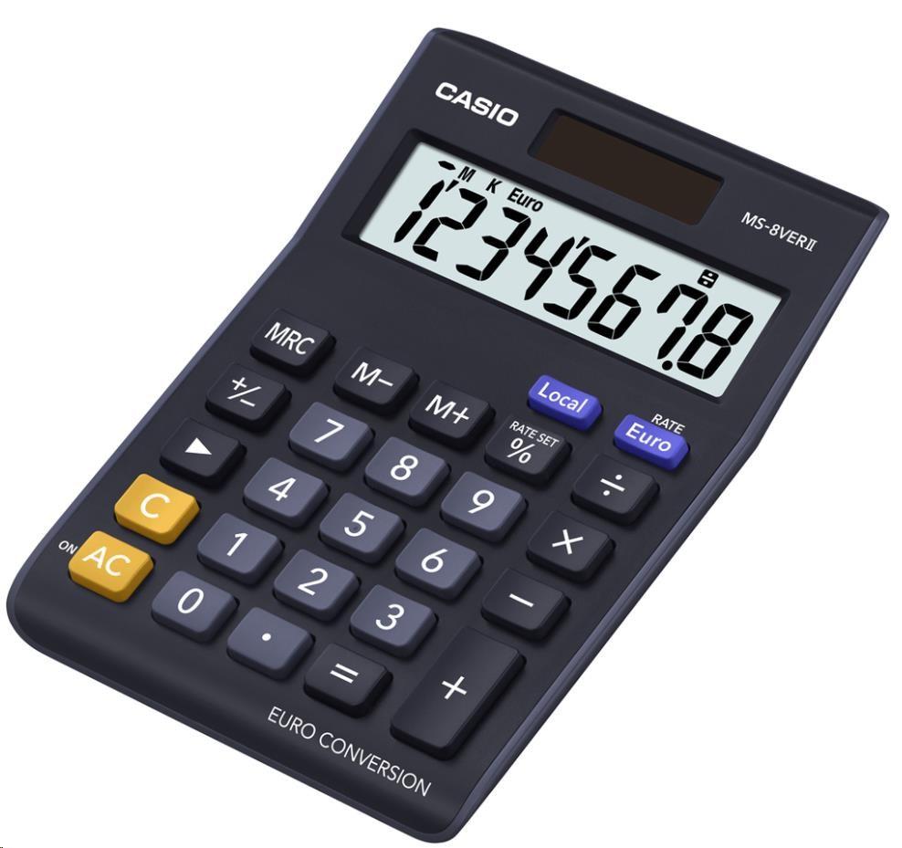 CASIO kalkulačka MS 8 VER II, černá, stolní, osmimístná