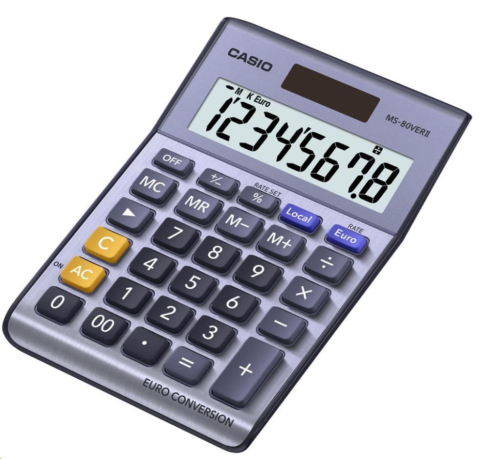 CASIO kalkulačka MS 80 VER II, stříbrná, stolní, osmimístná