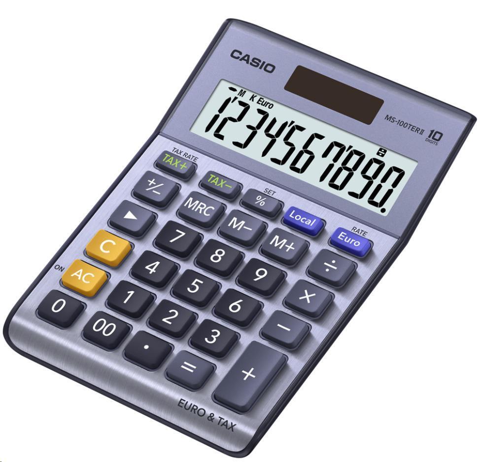 CASIO kalkulačka MS 100 TER II, stříbrná, stolní, desetimístná