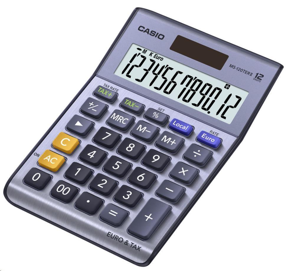 CASIO kalkulačka MS 120 TER II, stříbrná, stolní, dvanáctimístná