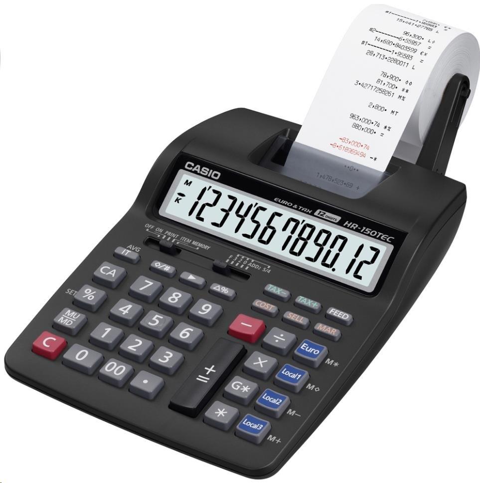 CASIO kalkulačka HR 150TEC, černá, přenosná stolní kalkulačka s dvoubarevným tiskem,dvanáctimístná
