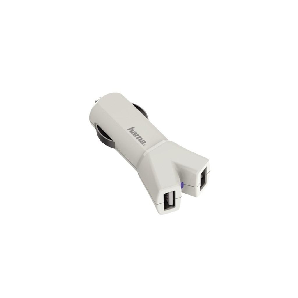 Hama dvojitá USB nabíječka do vozidla Color Line, AutoDetect, 3,4 A, bílá