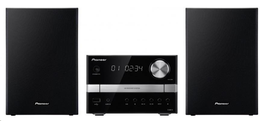 PIONEER X-EM12 CD s USB vstupem, Class D zesilovač, výkon 2x15W, linkový AUX vstup, FM RDS tuner, CD-R/RW, MP3, WMA