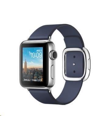 Apple Watch Series 2, 38mm pouzdro z nerezové oceli + půlnočně modrý řemínek s moderní přezkou - S