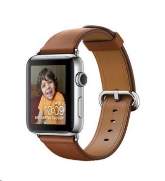 Apple Watch Series 2, 38mm pouzdro z nerezové oceli + sedlově hnědý řemínek s klasickou přezkou
