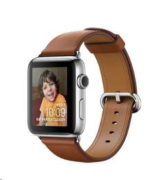 Apple Watch Series 2, 42mm pouzdro z nerezové oceli + sedlově hnědý řemínek s klasickou přezkou