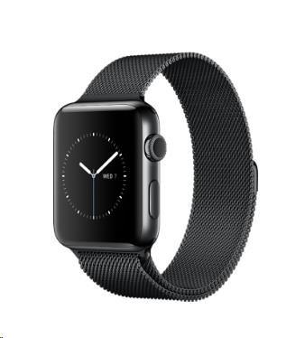 Apple Watch Series 2, 42mm pouzdro z vesmírně černé nerezové oceli + vesmírně černý Milánský řemínek