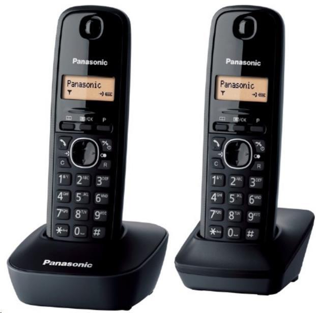 PANASONIC KX-TG1612FXH digitální bezdrátový telefon,TwinPack, podsvícený displej, seznam-50 jmen, budík, omezení volání