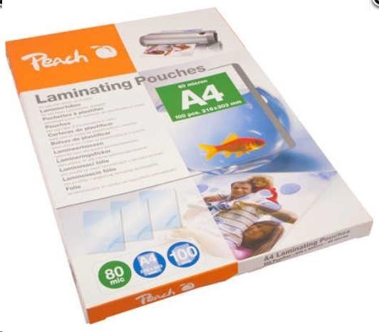 PEACH Laminovací fólie A4 (216x303mm), 80mic, PP580-02, 100pck/BAL