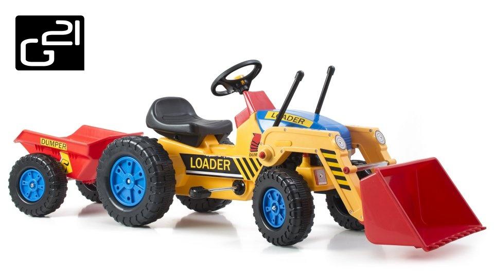 Šlapací traktor G21 Classic s nakladačem a vlečkou žluto/modrý