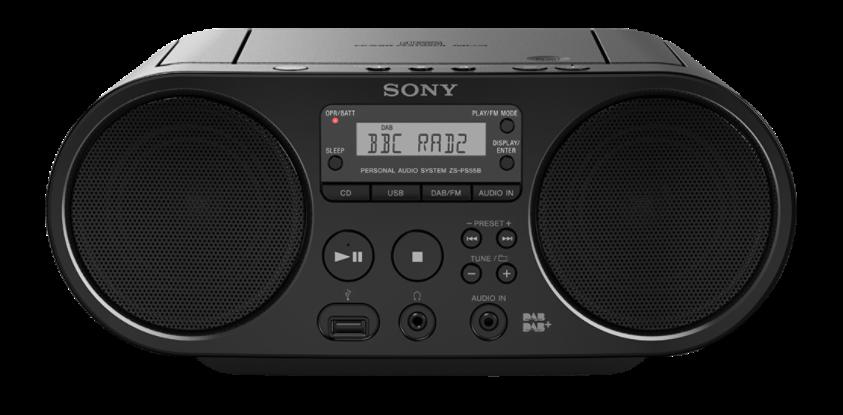 SONY ZSPS50B Přenosný audio přehrávač SONY přehrávání audio CD, MP3 CD, USB FM/AM radio tuner, 2+2 W