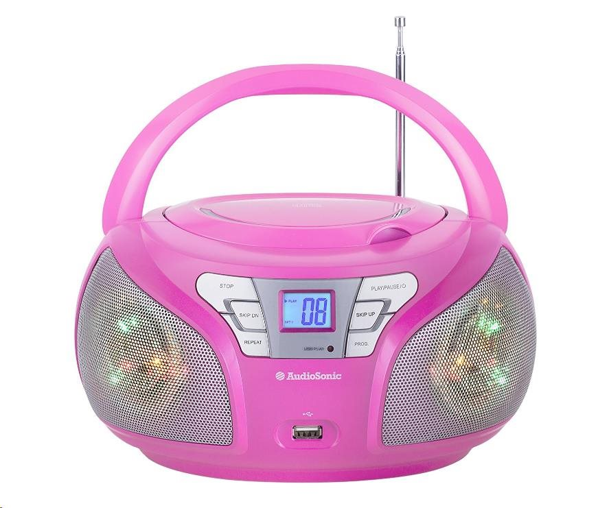 AUDIOSONIC Stereo rádio, Disco LED světla, růžové CD-1560
