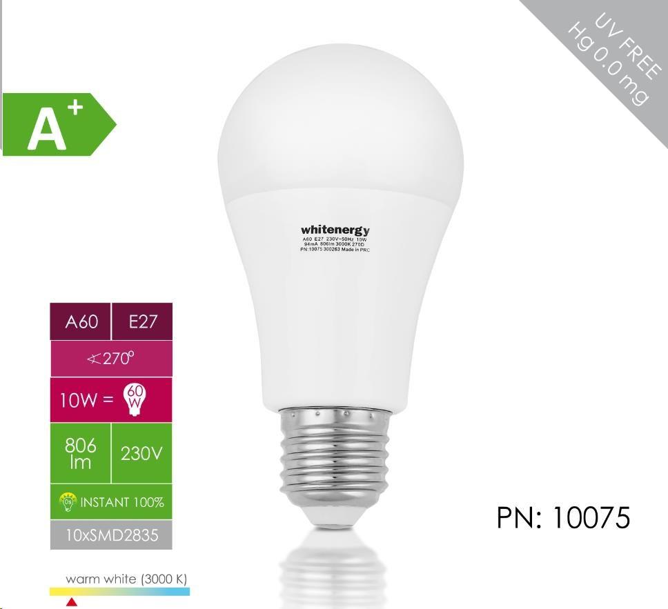 Whitenergy LED žárovka (E27, 10W, 806 lm, teplá bílá mléčná)
