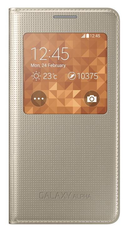 Samsung flipové pouzdro S View EF-CG850B pro Samsung Galaxy Alpha (SM-G850), zlatá