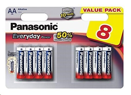 PANASONIC Alkalické baterie - Everyday Power AA 1,5V balení - 8ks