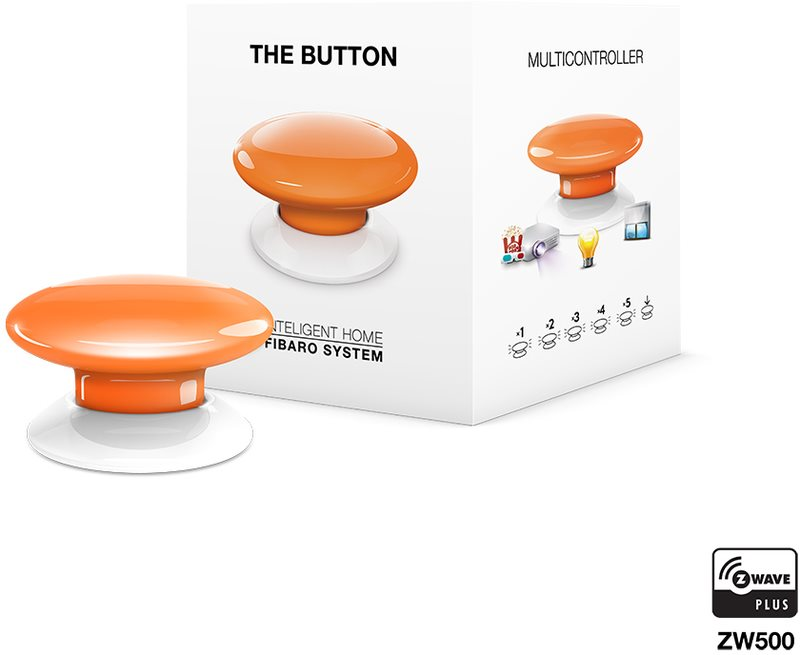 Fibaro The Button, multifunkční tlačítko, Z-Wave Plus, oranžová
