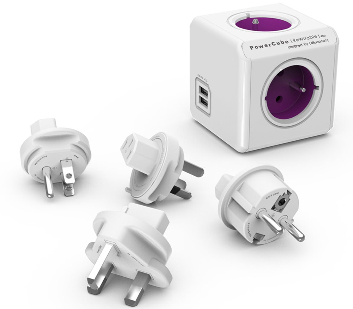 PowerCube ReWirable USB + Travel Plugs, bílá / růžová