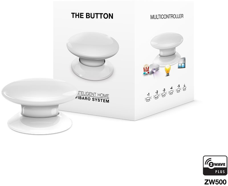 Fibaro The Button, multifunkční tlačítko, Z-Wave Plus, bílá