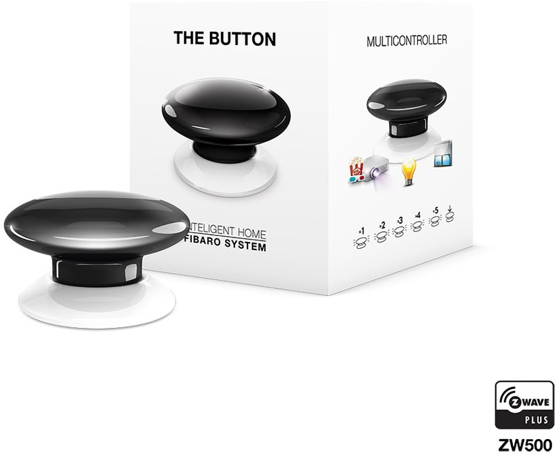 Fibaro The Button, multifunkční tlačítko, Z-Wave Plus, černá