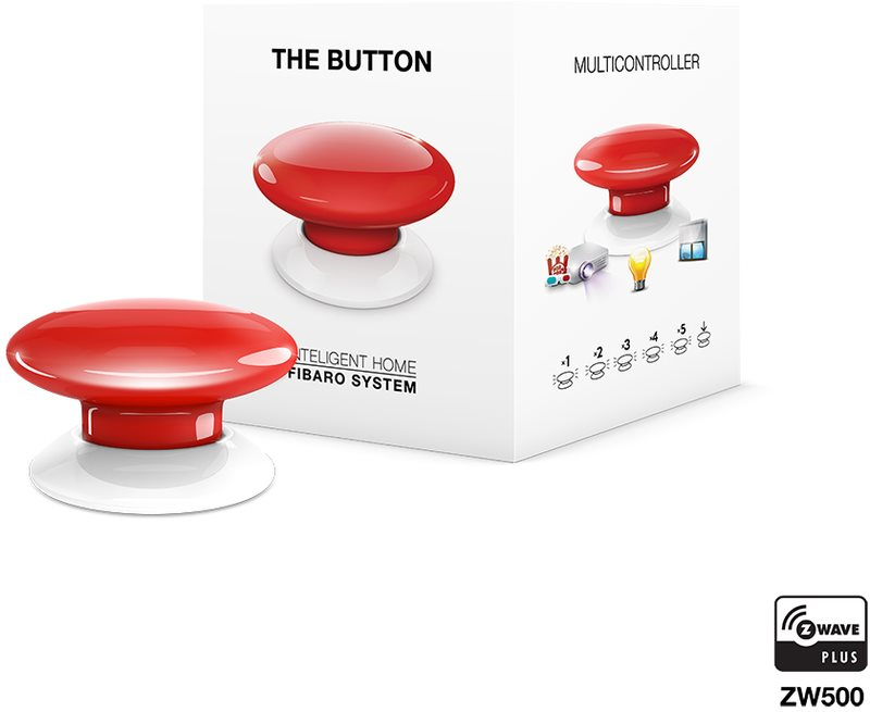 Fibaro The Button, multifunkční tlačítko, Z-Wave Plus, červená
