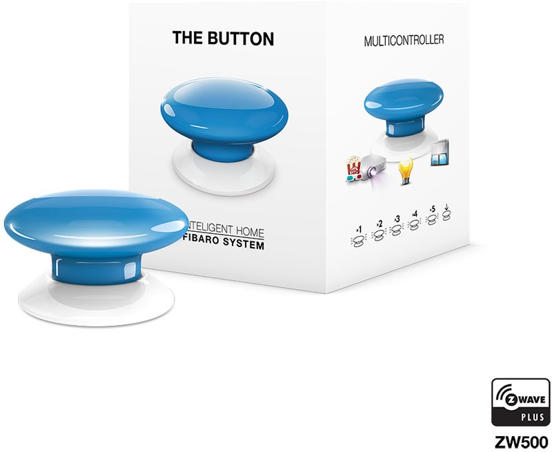 Fibaro The Button, multifunkční tlačítko, Z-Wave Plus, modrá