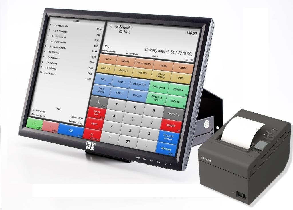 """LYNX Pokladní systém - ČEPOS 15"""" Win 10 HOME s instalací + čtečka a zák. display+ zdroj"""