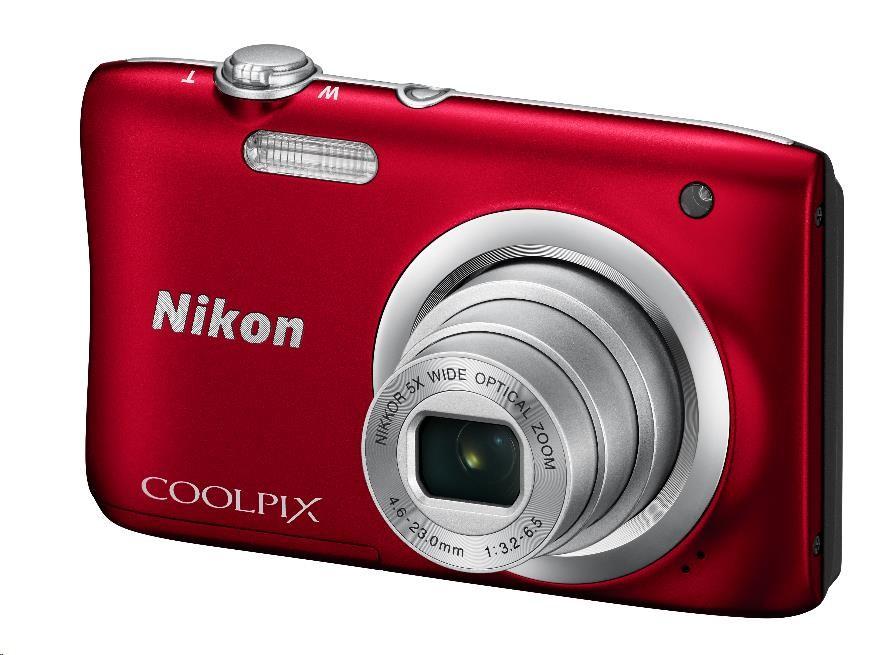 Nikon kompakt Coolpix A100, 20.1 Mpix, 5x zoom - červený - rozbaleny