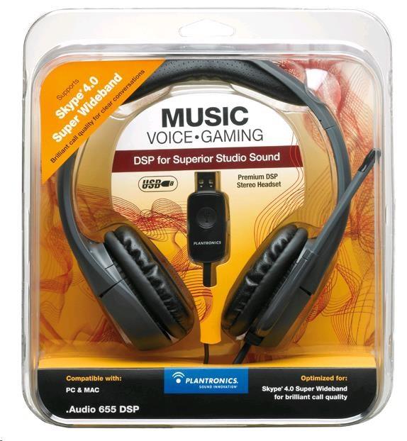 PLANTRONICS sluchátka s mikrofonem Audio 655 DSP, USB, černá