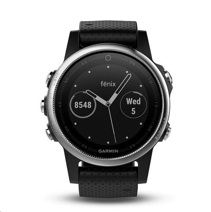 Garmin GPS sportovní hodinky fenix5S stříbrné, černý řemínek (předobjednávka)