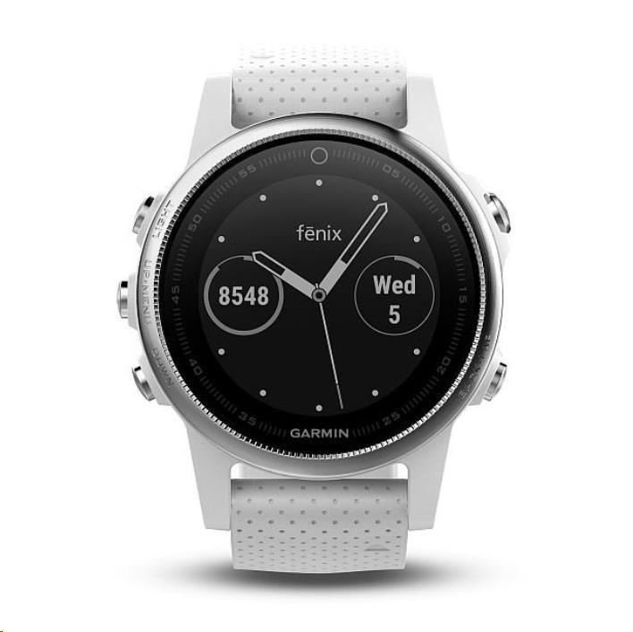 Garmin GPS sportovní hodinky fenix5S stříbrné, bílý řemínek (předobjednávka)