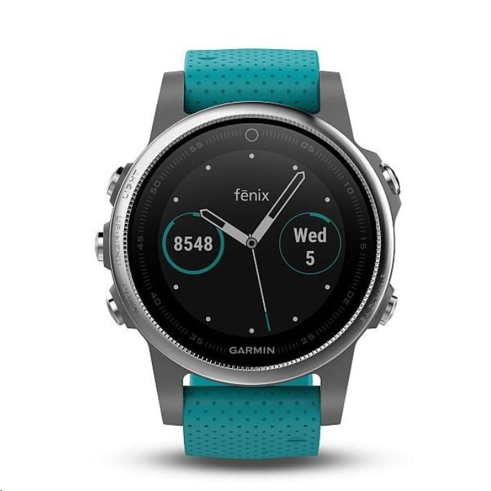 Garmin GPS sportovní hodinky fenix5S stříbrné, modrý řemínek (předobjednávka)