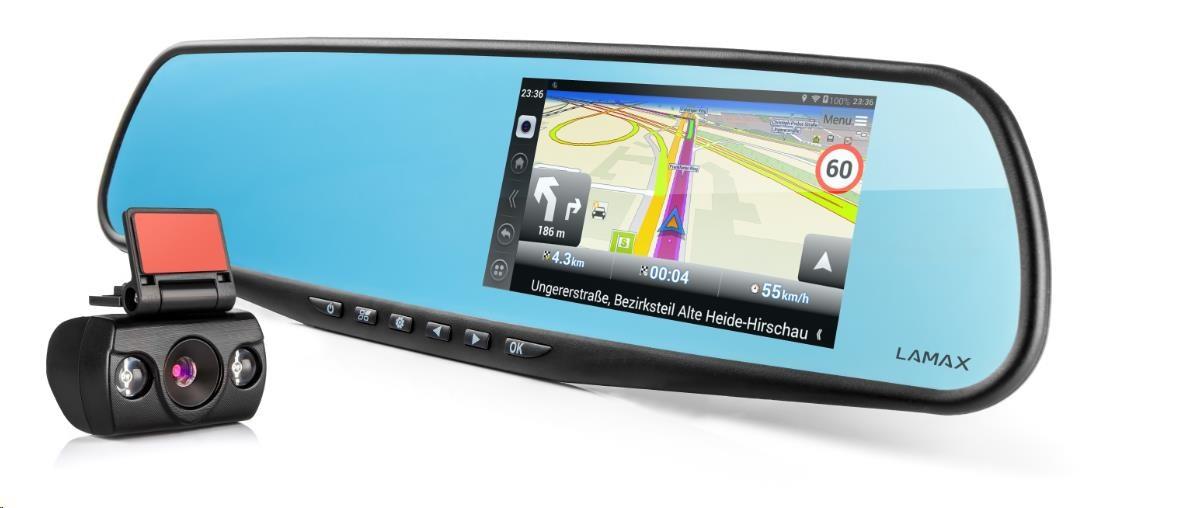 LAMAX Drive S5 Navi+ - kamera se zpětným zrcátkem do auta