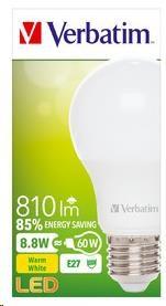 VERBATIM LED žárovka,LED Classic A E27 8,8W 2700K WW 810LM