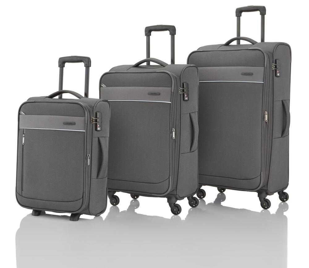 Travelite Delta 2w S, 4w M,L Grey – sada 3 kufrů + BB
