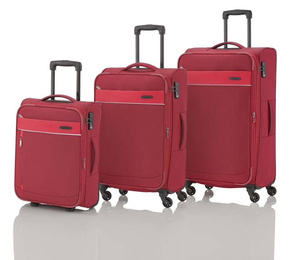 Travelite Delta 2w S, 4w M,L Red – sada 3 kufrů + BB