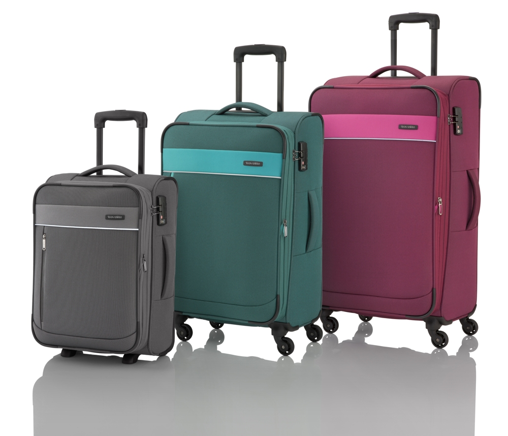 Travelite Delta 2w S, 4w M,L Berry – sada 3 kufrů + BB