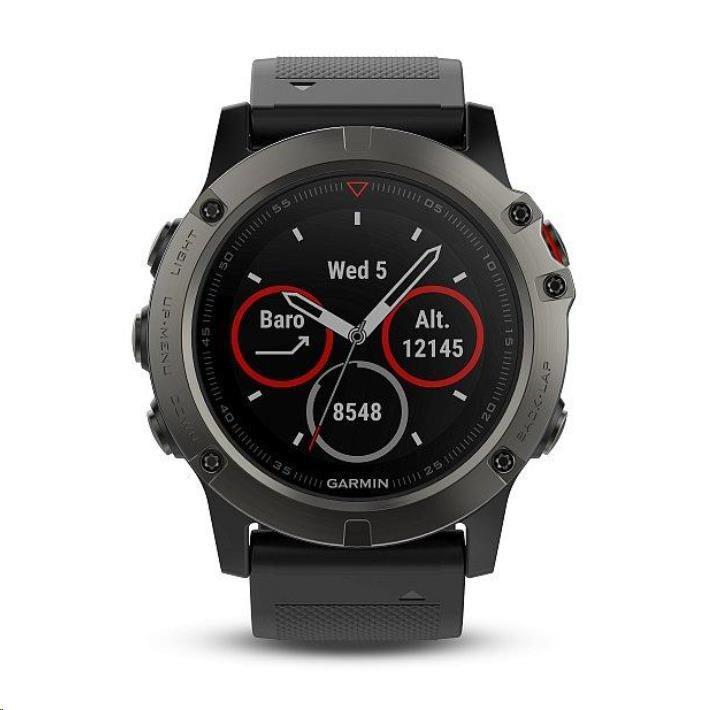 Garmin GPS sportovní hodinky fenix5x Sapphire Gray Optic, černý řemínek