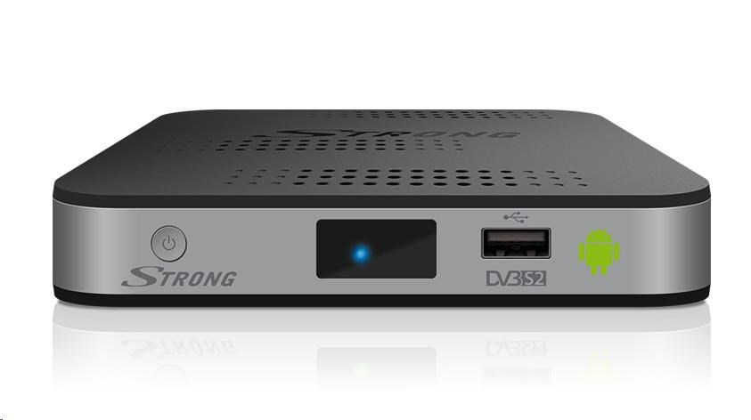 STRONG SRT2221 box DVB-T2 (H.265), USB Rec, umožňuje sledovat video, hudbu, fotografie, instalovat hry a aplikace