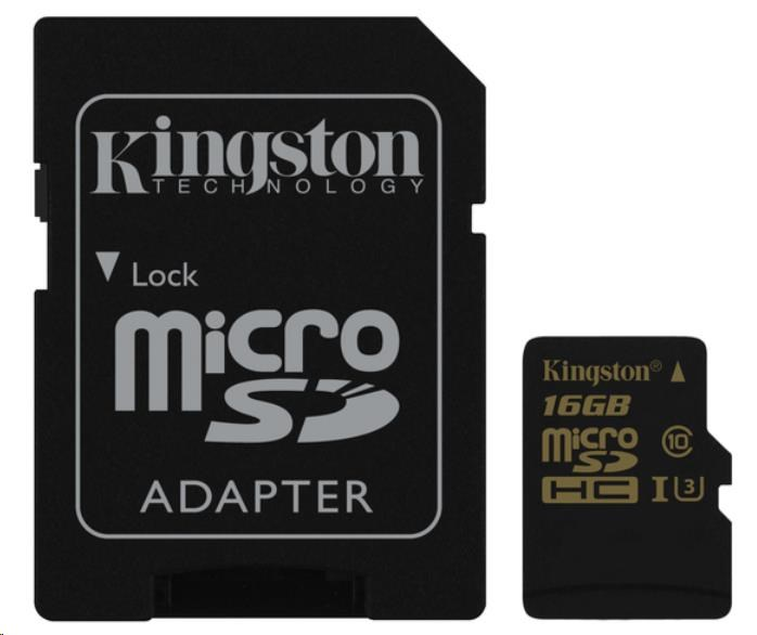 Kingston 16GB Micro SecureDigital (SDHC) Card Gold, UHS-I, 90r/45w + SD adapter