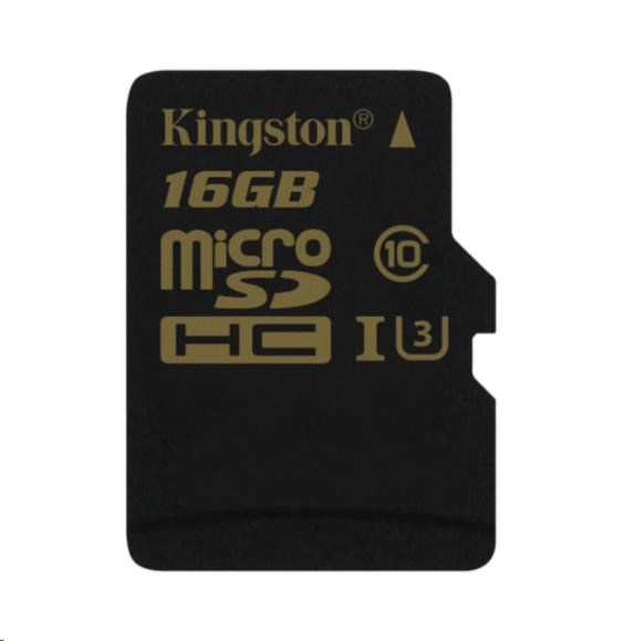 Kingston 16GB Micro SecureDigital (SDHC) Card Gold, UHS-I, 90r/45w
