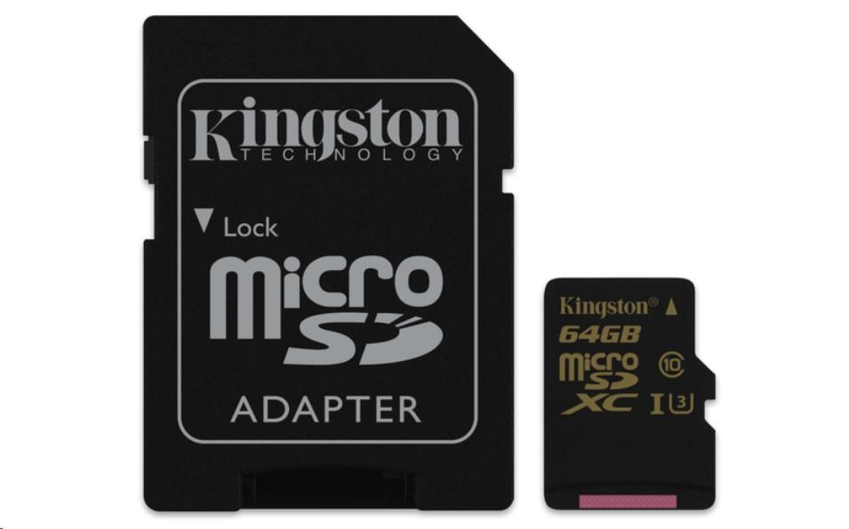 Kingston 64GB Micro SecureDigital (SDXC) Card Gold, UHS-I, 90r/45w + SD adapter